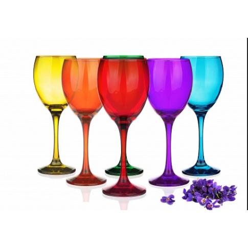 Komplet kolorowych kieliszków do wina 300ml w sklepie Dedekor.pl