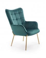 Fotel wypoczynkowy zielony + złoty w sklepie Dedekor.pl