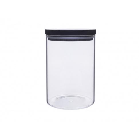 Okrągły pojemnik szklany na żywność Kyoto BLACK 800 ml w sklepie Dedekor.pl