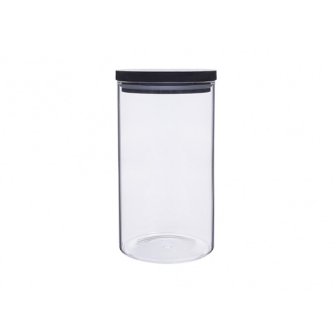 Okrągły pojemnik szklany na żywność Kyoto BLACK 1050 ml w sklepie Dedekor.pl