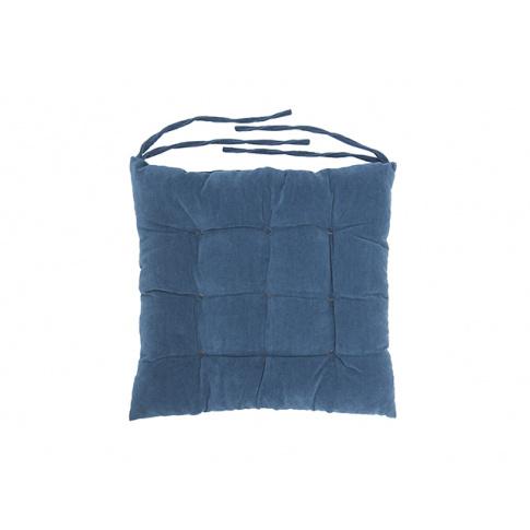 Poduszka na krzesło pikowana z wiązaniem niebieska w sklepie Dedekor.pl