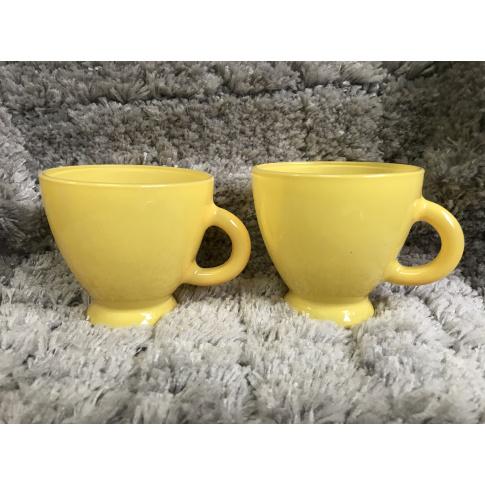 Zestaw 2 filiżanek żółtych z uchem szkło OUTLET w sklepie Dedekor.pl