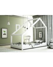 Drewniane łóżko dziecięce domek biały