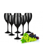Komplet 6szt kieliszków do wina CZARNE 300 ml