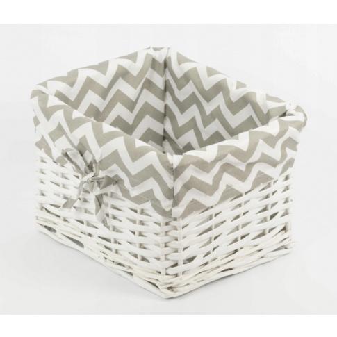 Koszyk wiklinowy biały 26x23cm  w sklepie Dedekor.pl