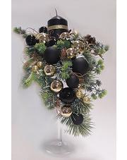 Stroik świąteczny  wysoki  czarno-złoty  S44
