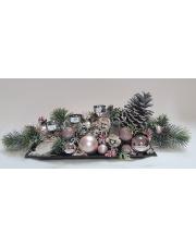 Stroik świąteczny  z szyszką i białymi makoszkami S36