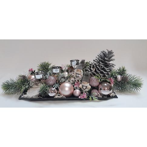 Stroik świąteczny  z szyszką i białymi makoszkami S36 w sklepie Dedekor.pl