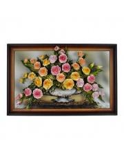 Obraz z kwiatami skórzany