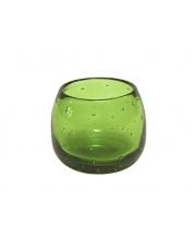 Okrągły świecznik szklany Bubble zielony wys.8,5 OUTLET w sklepie Dedekor.pl