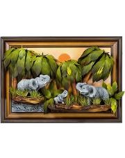 Obraz ze skóry Słonie 60/80 cm