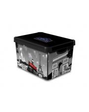 Stylowe pudełko ozdobne z pokrywą i uchwytami Paryż 39,5x29,5x25