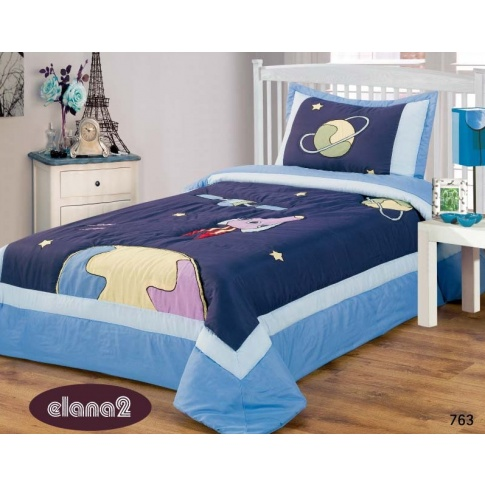 Bardzo dobry Granatowa narzuta na łóżko dla dzieci 170x210+50x70 kosmos , Dla PL33
