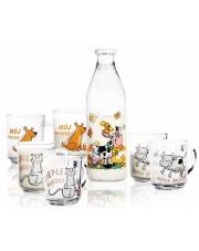 Komplet 6 kubków i butelka na mleko 900ml w sklepie Dedekor.pl